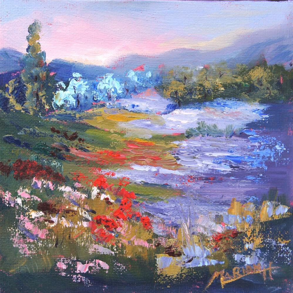 """Where Lavender and Poppies Meet, 6x6 Impressionist Provence Landscape painting"" original fine art by Marion Hedger"