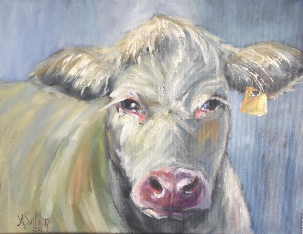"""Bessie Lu cow painting by Alabama Artist Angela Sullivan"" original fine art by Angela Sullivan"