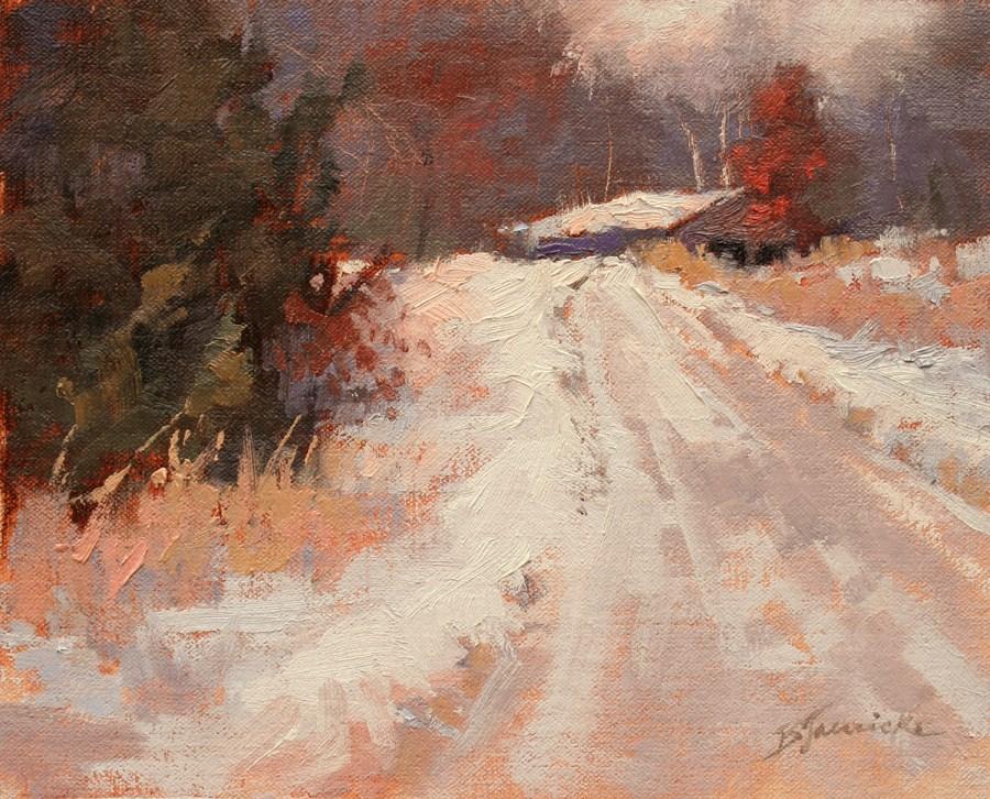 """Snowy Driveway"" original fine art by Barbara Jaenicke"