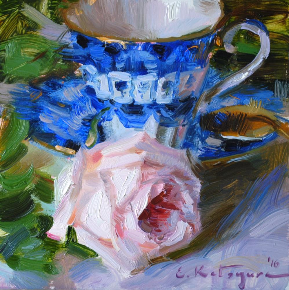 """Blue Teacup and Rose"" original fine art by Elena Katsyura"