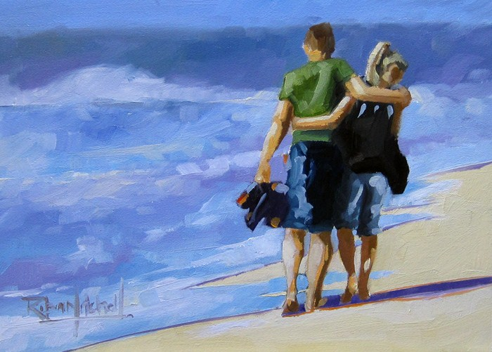 """No 547 Looking for Shells"" original fine art by Robin J Mitchell"