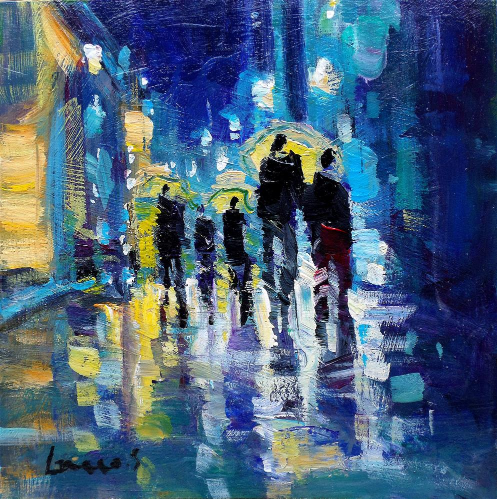 """Blue night under umbrellas"" original fine art by salvatore greco"