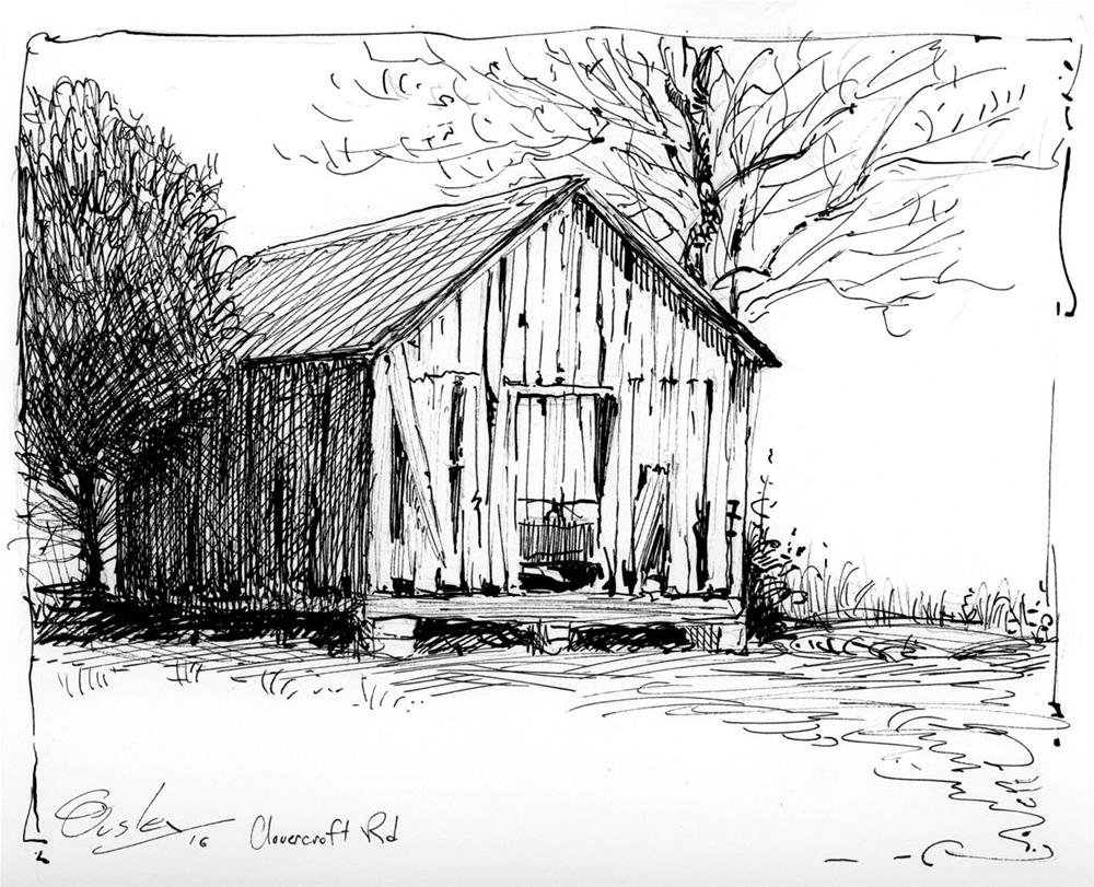"""Clovercroft Barn"" original fine art by Chris Ousley"