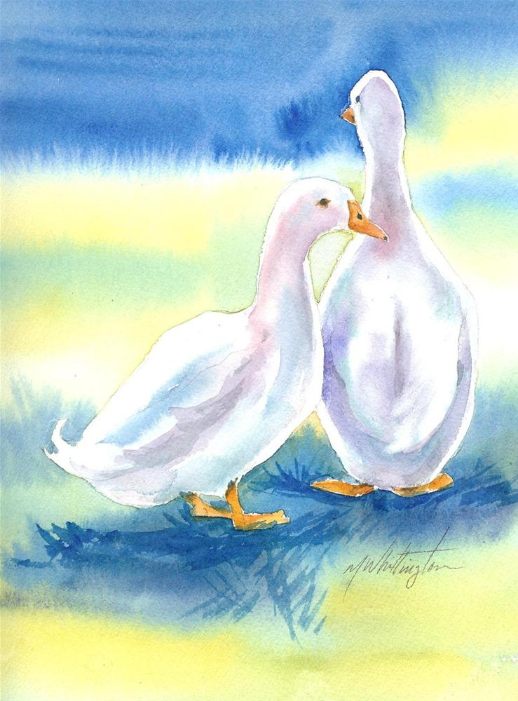 """2 Geese"" original fine art by Margie Whittington"