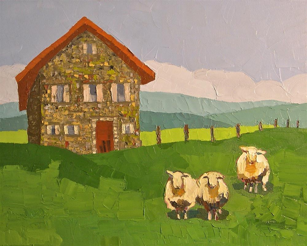 """Sheep at the Stone Farmhouse"" original fine art by Donna Walker"