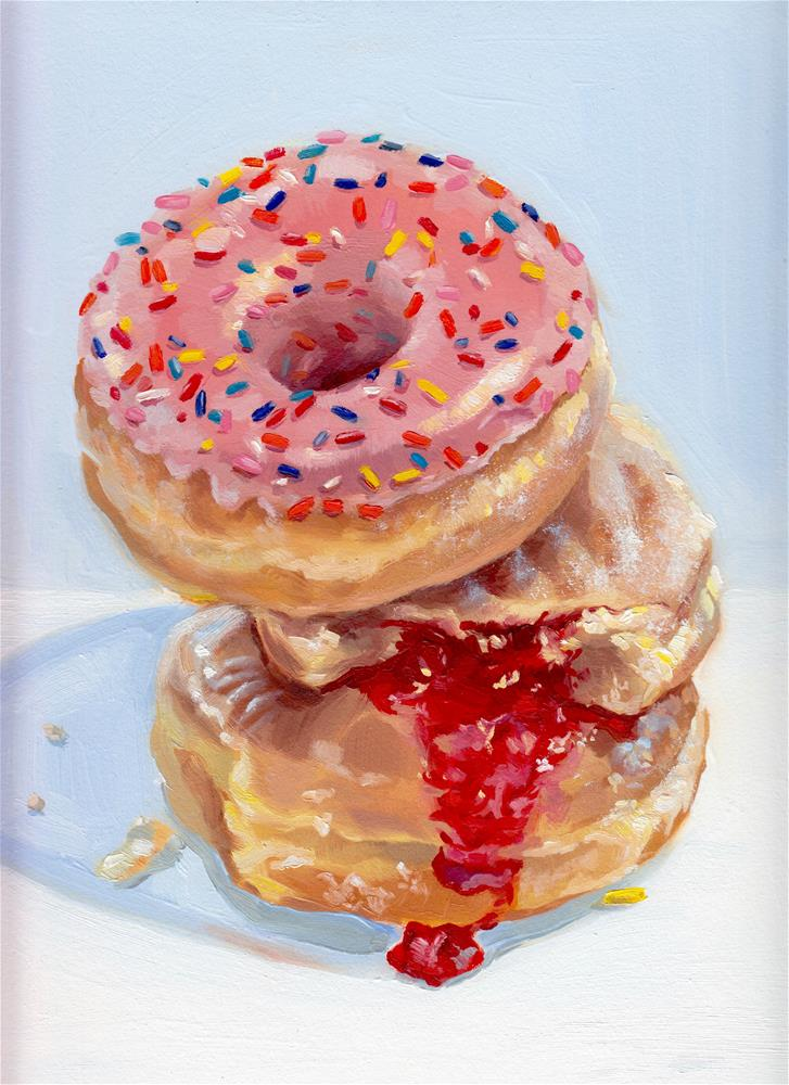 """Doughnuts for Breakfast I"" original fine art by Shineh Kim Yoon"