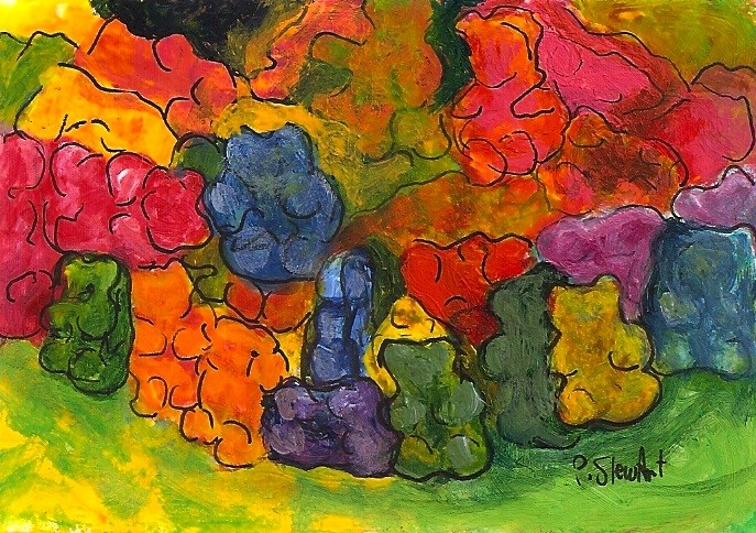 """""""ACEO Gummy Bears Pile Up Jellied Candies Colorful Painting by Penny Stewart"""" original fine art by Penny Lee StewArt"""