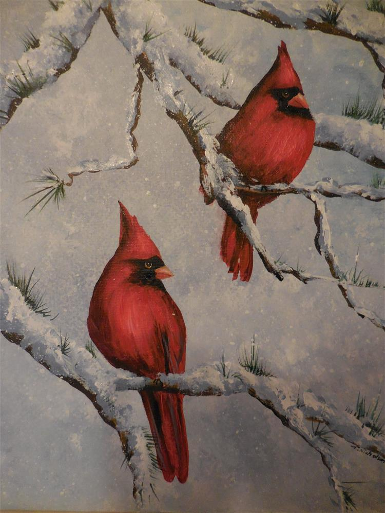 """Snowbirds in Winter"" original fine art by Terri Nicholson"