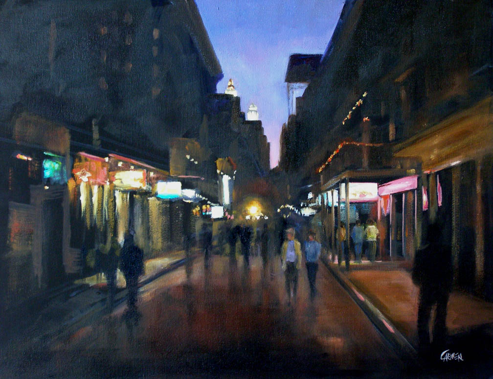 """Bourbon Street, 11x14 Oil on Canvas Board"" original fine art by Carmen Beecher"