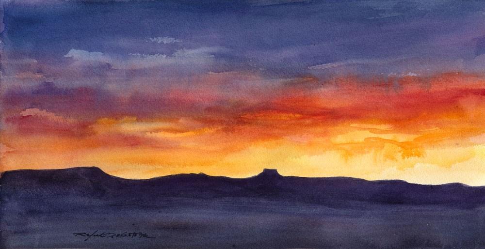 """Southwest Sunset Silhouette"" original fine art by Rafael DeSoto Jr."