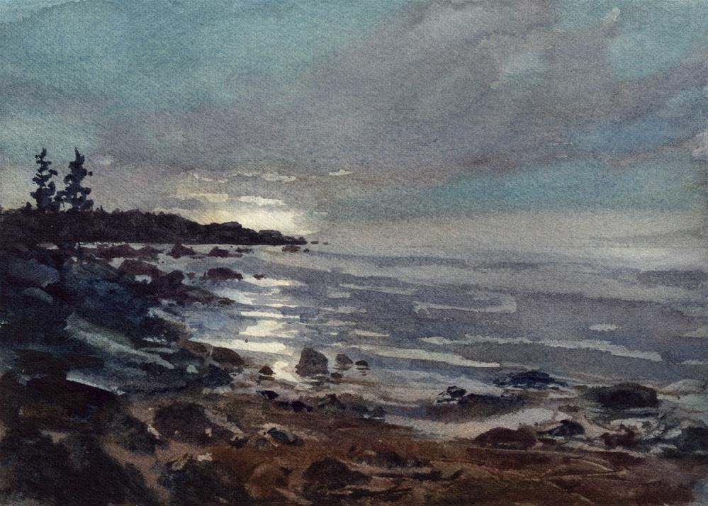 """Moonlight on the Water"" original fine art by Linda Henry"