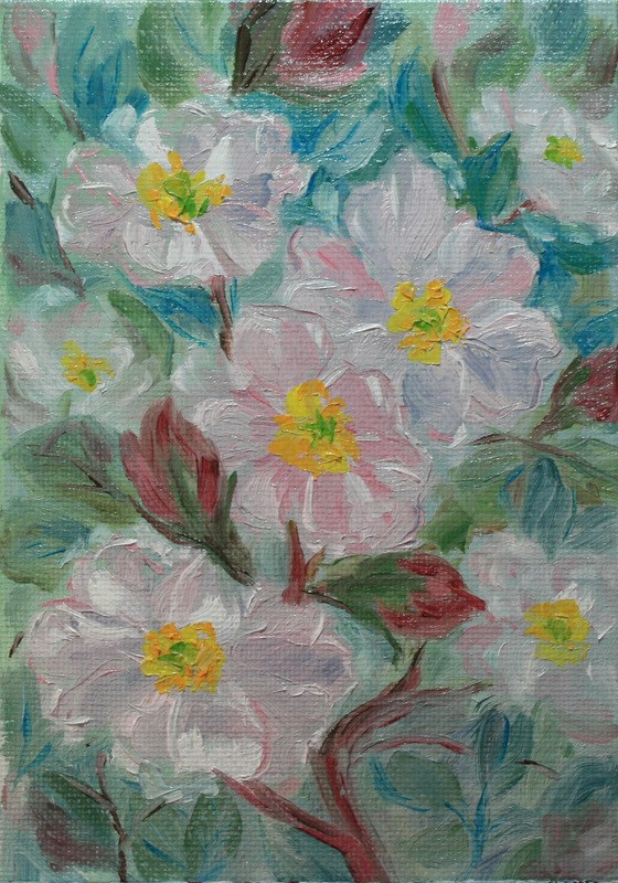 """Wildroses"" original fine art by Jean Nelson"