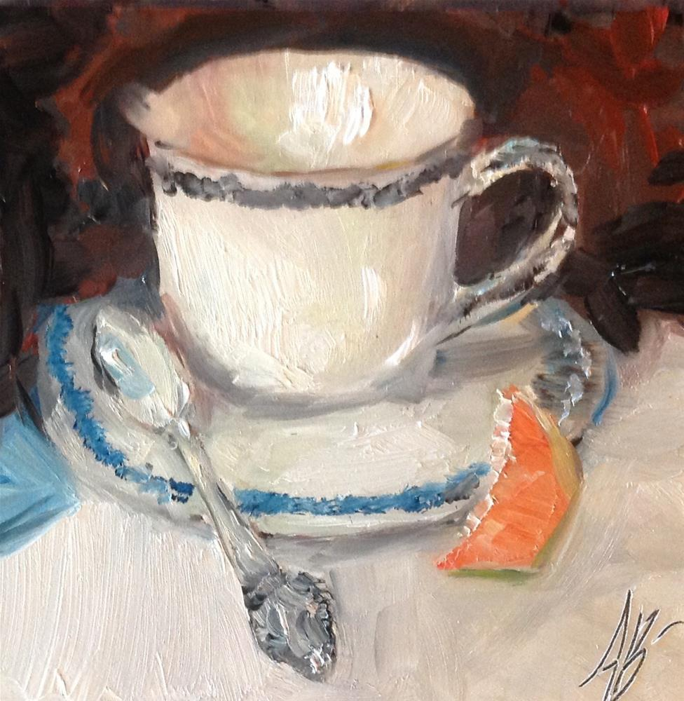 """Tea cup / Slice orange"" original fine art by Annette Balesteri"