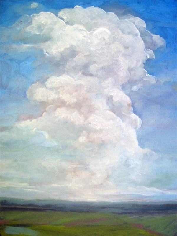 """Dramatic clouds blue sky landscape"" original fine art by Linda Apple"