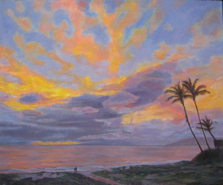 """Holding Hands at Kamaoli Beach II"" original fine art by Robie Benve"