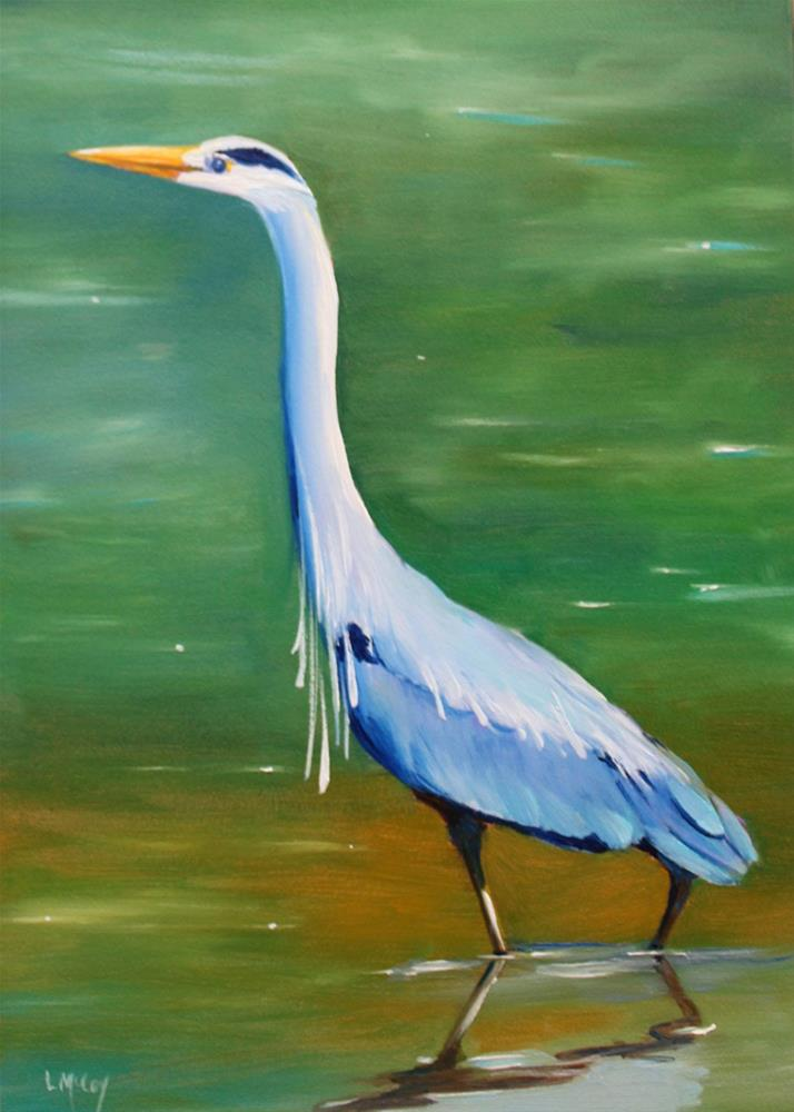 """Blue Heron, Bird Painting by Linda McCoy"" original fine art by Linda McCoy"
