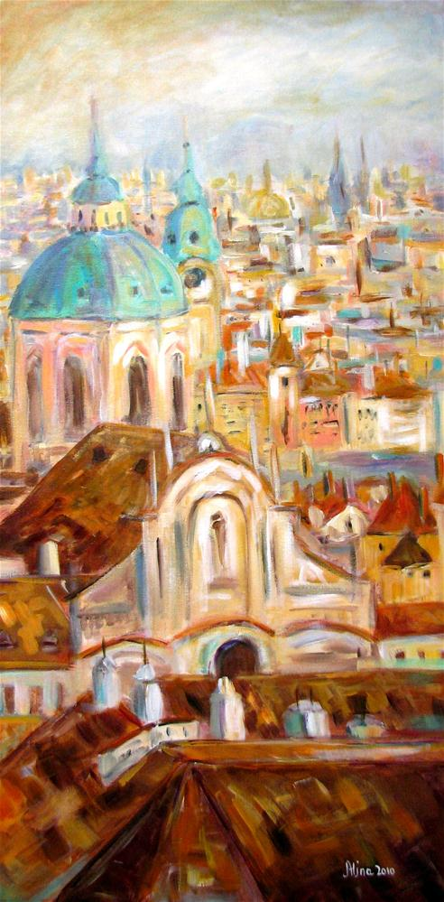 """Prague Rooftops"" original fine art by Alina Vidulescu"