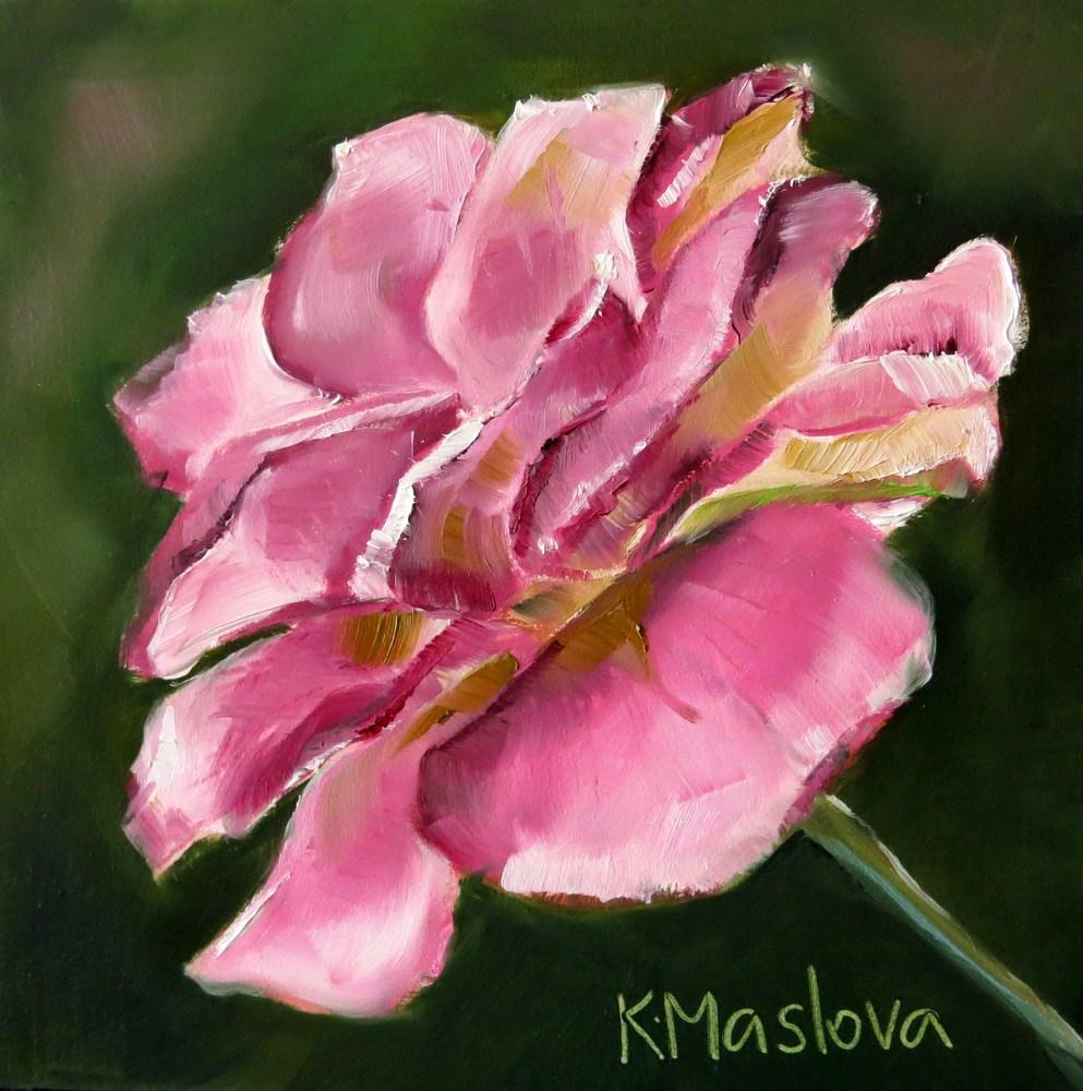 """Pink Rose"" original fine art by Kulli Maslova"