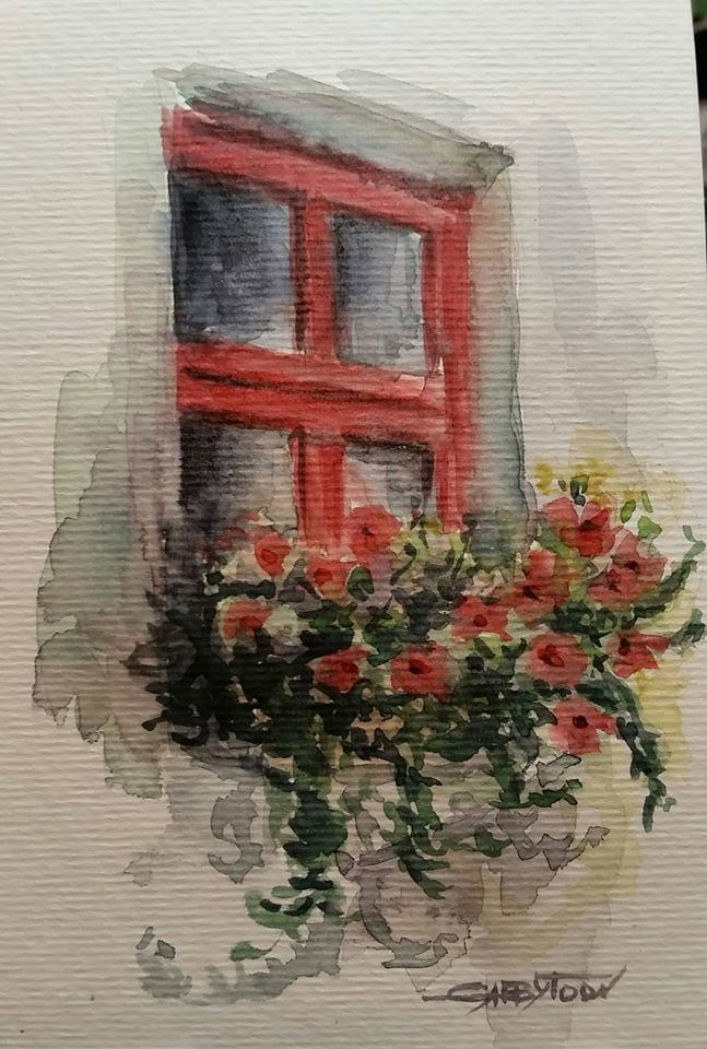 """Red Window"" original fine art by Gabriella DeLamater"