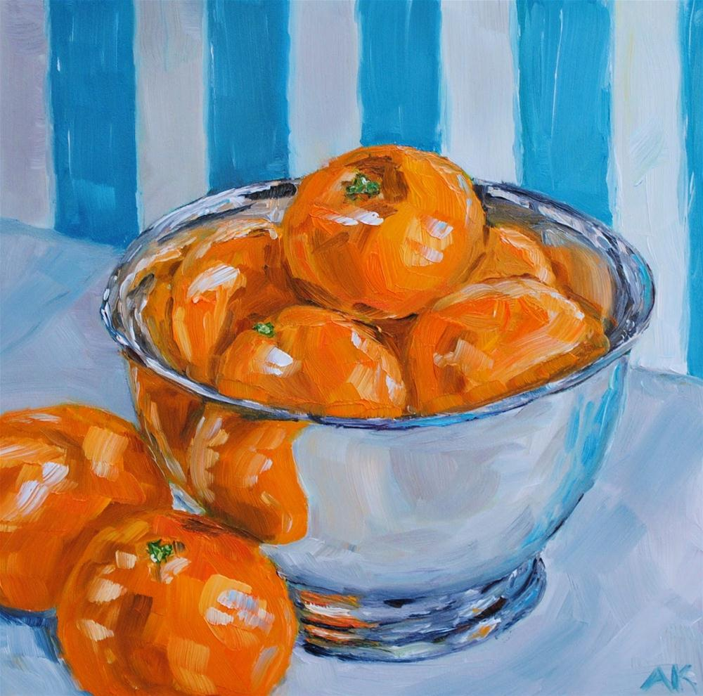 """Striped Clementines"" original fine art by Alison Kolkebeck"