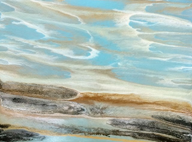 """Abstract Seascape,Beach, Ocean Coastal Living Decor Gulf Study #4 by Colorado Contemporary Artist"" original fine art by Kimberly Conrad"