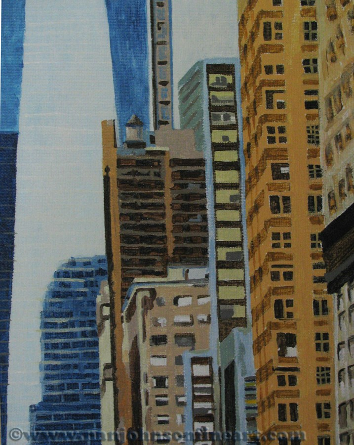 """Reflecting on the Freedom Tower"" original fine art by Nan Johnson"