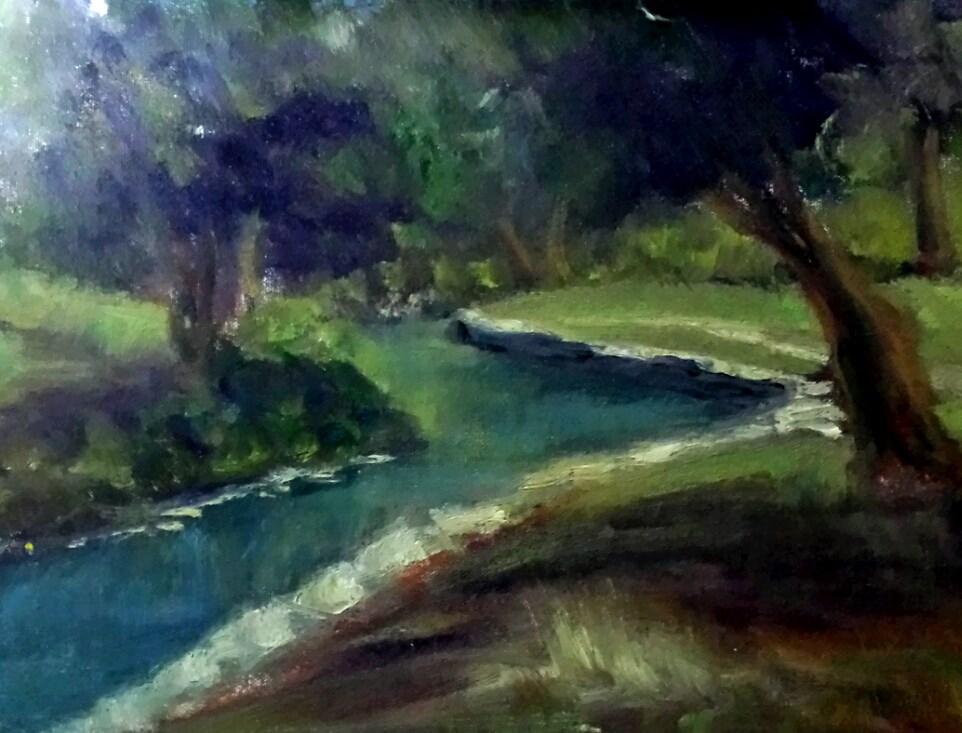 """""""THE CREEK IN DEL RIO"""" original fine art by Tracy Wilkerson"""