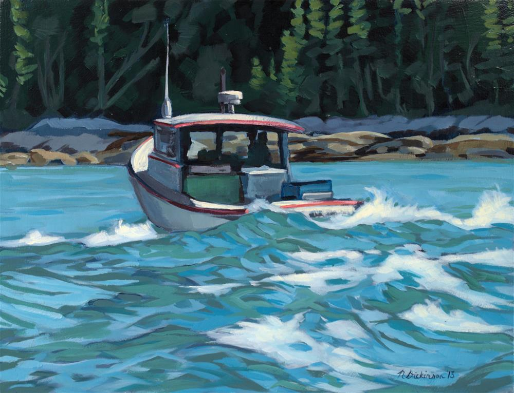"""""""Lobsterboat Leaving Stonington"""" original fine art by Nat Dickinson"""