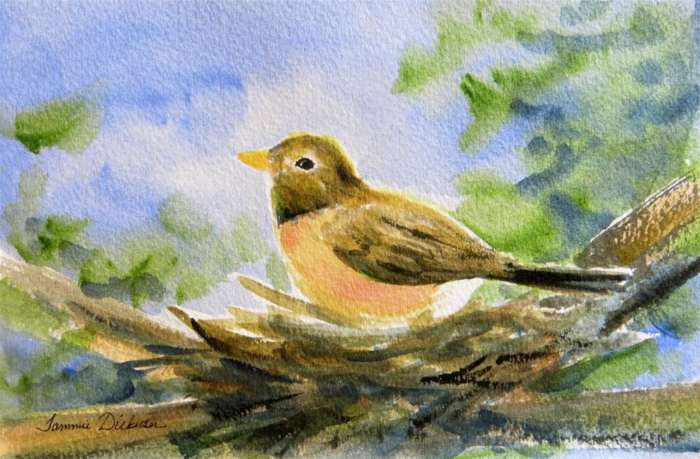 """Robin Nesting"" original fine art by Tammie Dickerson"