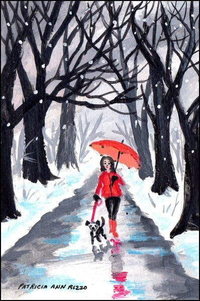 """Girl with the Red Umbrella 2"" original fine art by Patricia Ann Rizzo"