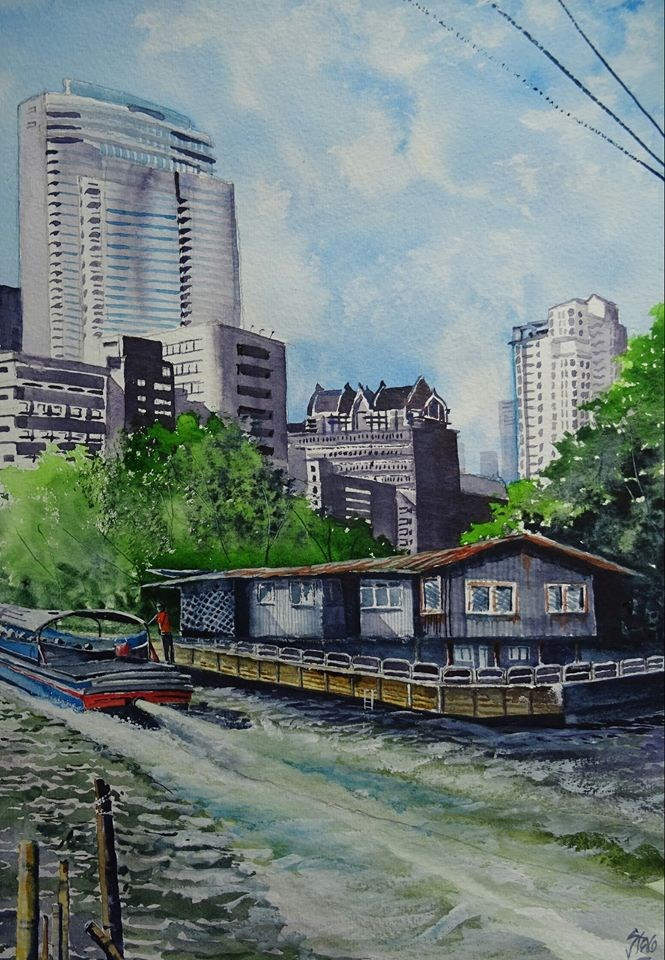 """Old and new by the klong in Bangkok"" original fine art by Martin Stephenson"