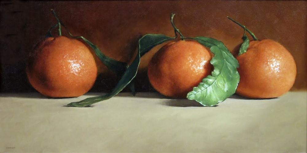 """Three Tangerines"" original fine art by Michael Naples"