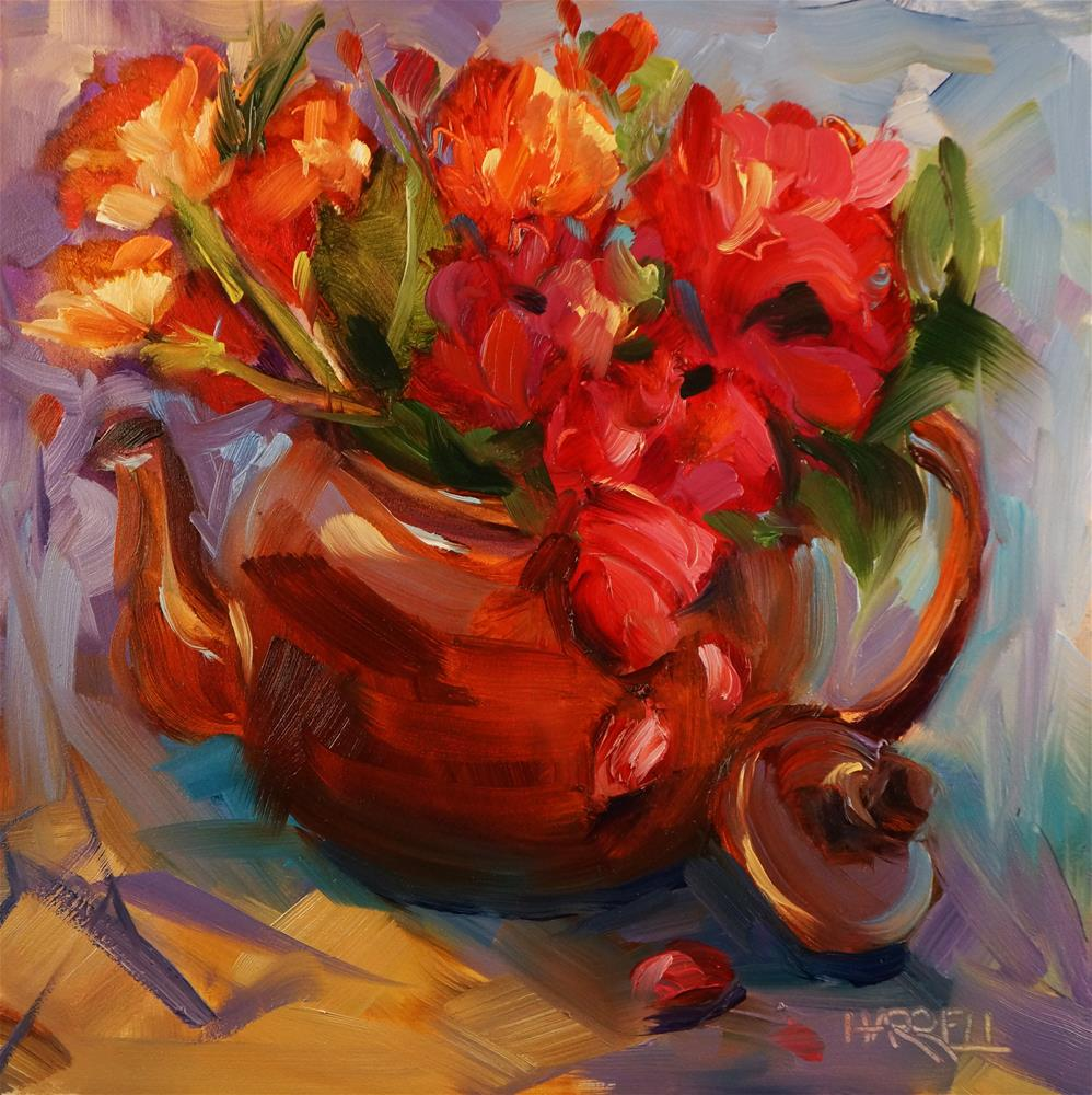"""Fiesta In A Teapot"" original fine art by Sue Harrell"