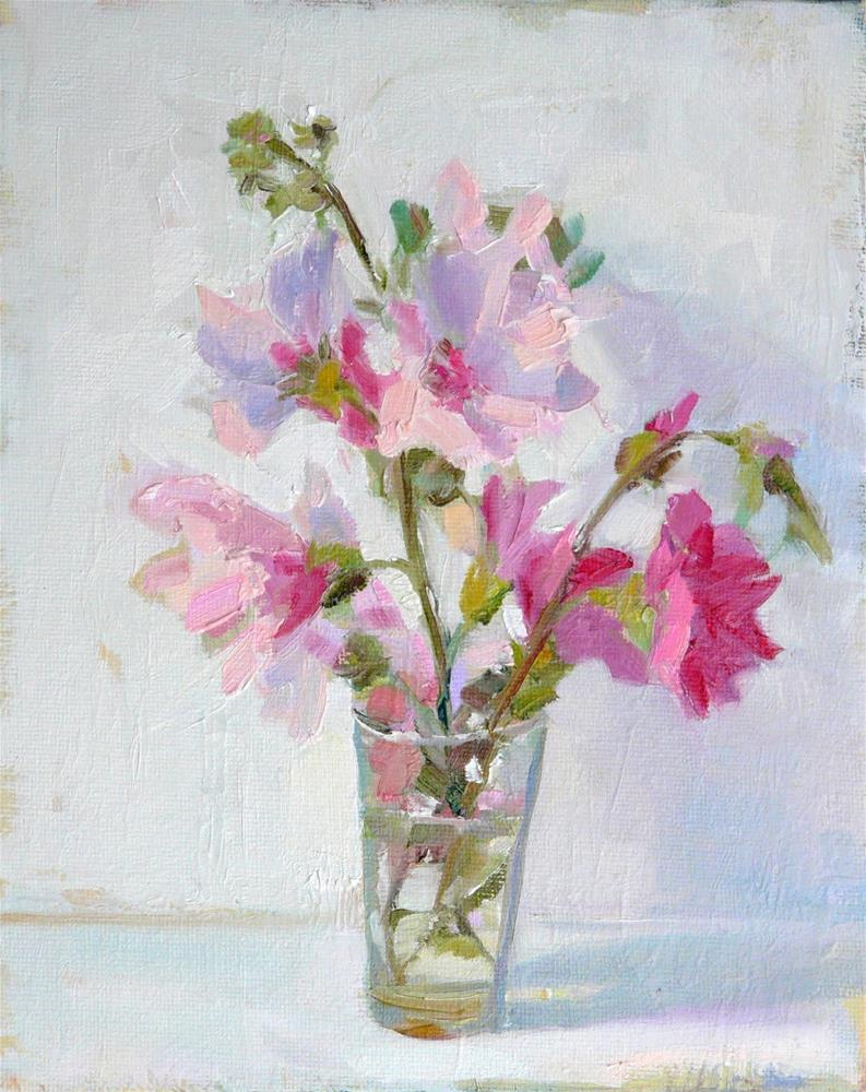 """Vase of Hollyhocks,still life,oil on canvas,10x8,Price$300"" original fine art by Joy Olney"