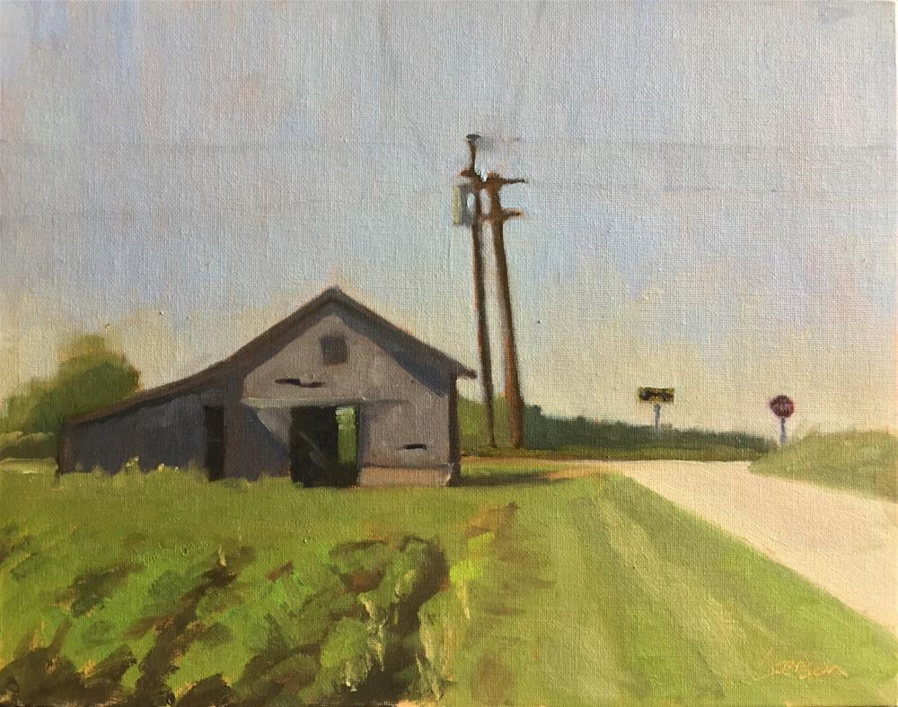 """""""Shed at the Crossroads"""" original fine art by Eric Larson"""