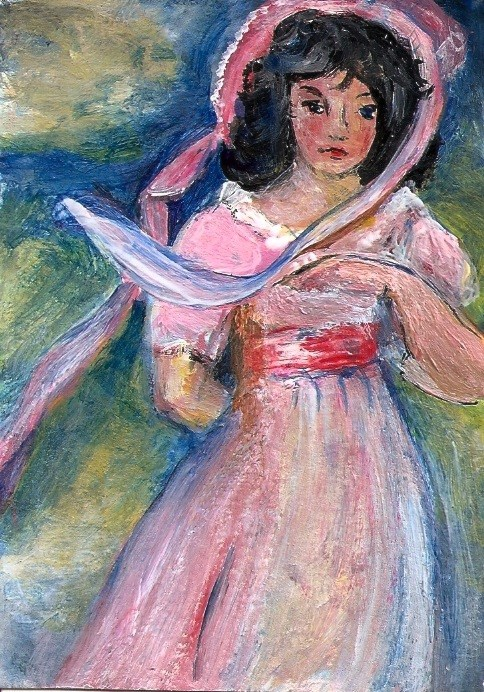 """ACEO Pinkie in the Style of Thomas Lawrence Miniature Masters Art Penny StewArt"" original fine art by Penny Lee StewArt"