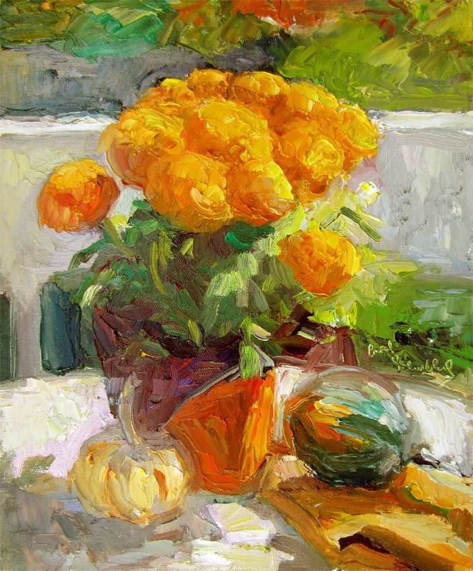 """Marigolds, Acorn Squash, White Pumpkin"" original fine art by Carol Steinberg"