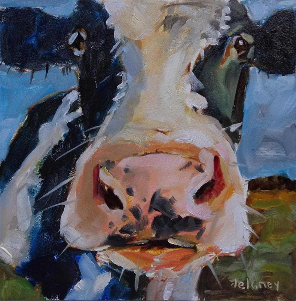 """Cow 122 CALENDAR GIRL"" original fine art by Jean Delaney"