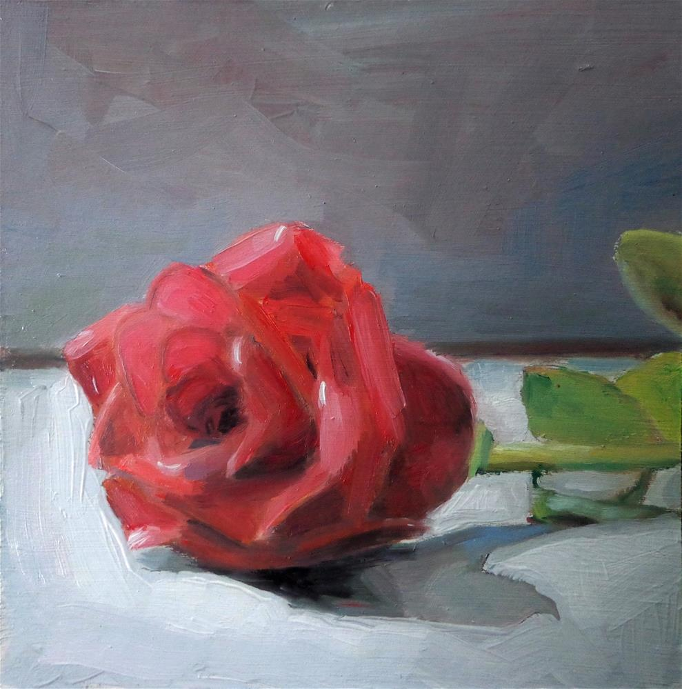 """Red rose"" original fine art by Maria Z."