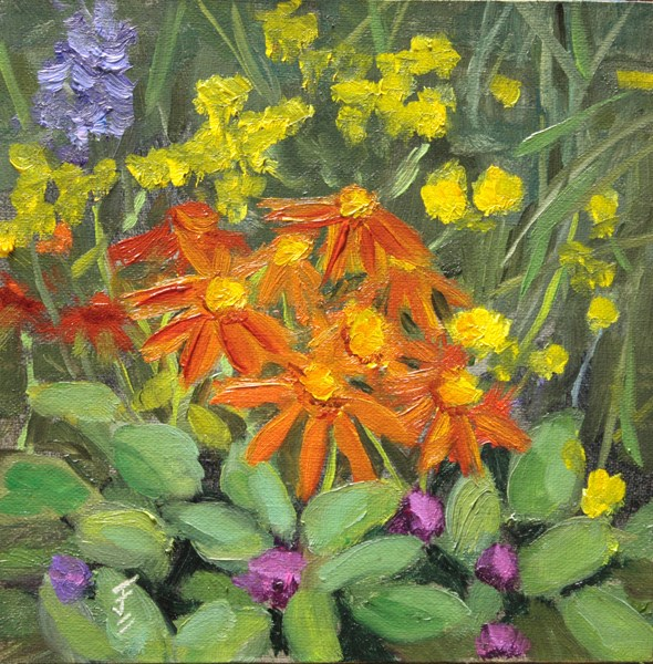 """Flower Medley"" original fine art by Jane Frederick"