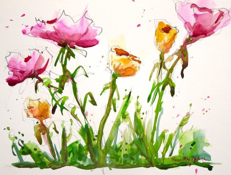 """I heart opera pink"" original fine art by Nora MacPhail"