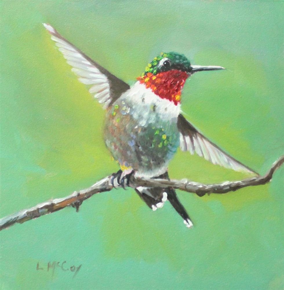 """Happy, Hummingbird Oil Painting"" original fine art by Linda McCoy"