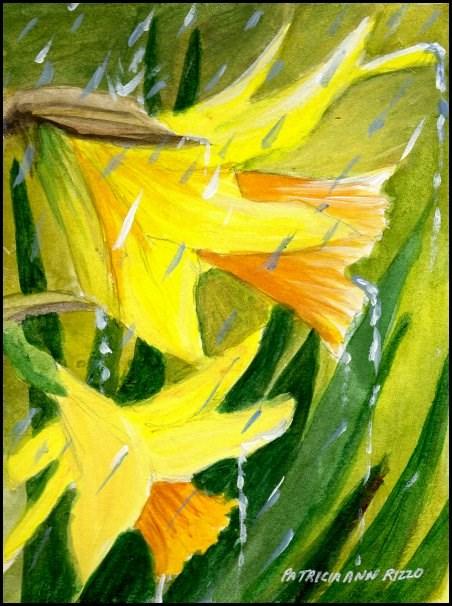 """""""Daffodils in Spring Rain"""" original fine art by Patricia Ann Rizzo"""