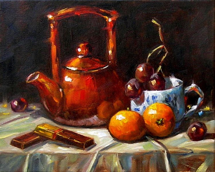 """Still Life with Two Tangerines"" original fine art by Irina Beskina"