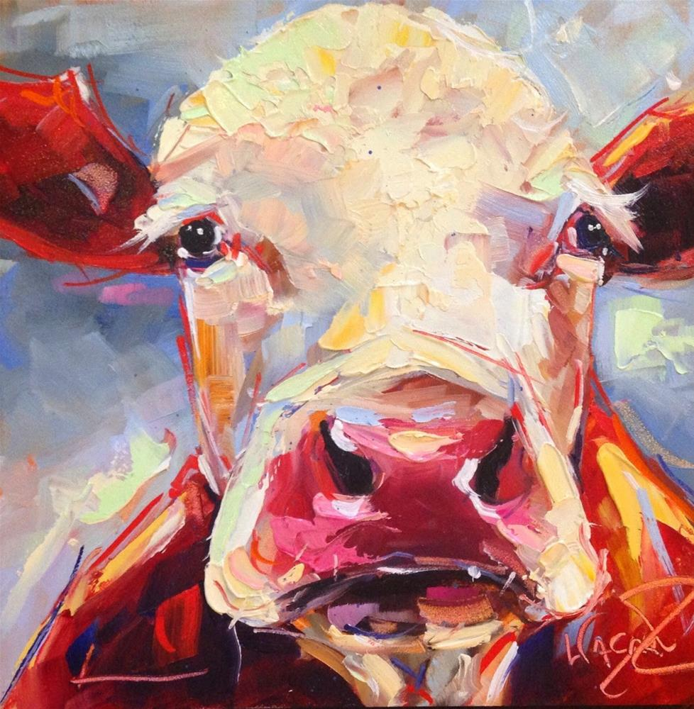"""Loving Color Day 25 - ORIGINAL CONTEMPORARY COW PAINTING in OILS by OLGA WAGNER"" original fine art by Olga Wagner"
