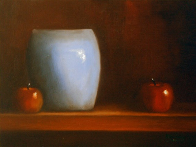 """Blue Vase and Apples"" original fine art by Dave Casey"