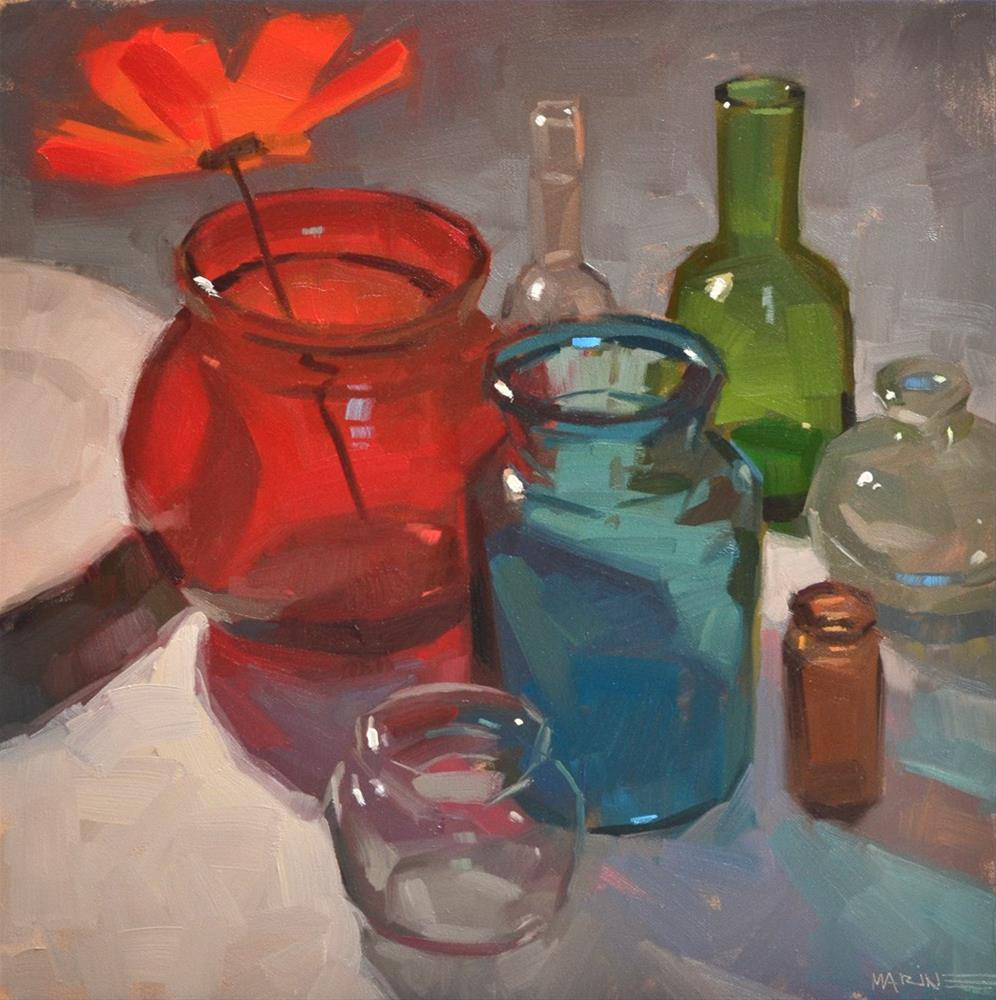 """Back Me Up, Bottles"" original fine art by Carol Marine"