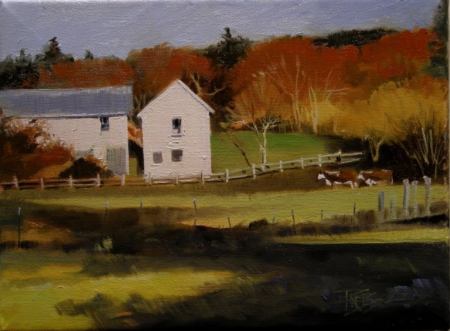 """Two Cow Farm  landscape oil paiting"" original fine art by Robin Weiss"