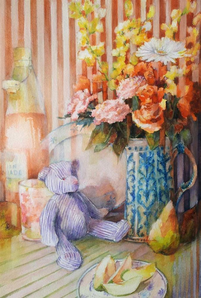 """Stripes and teddy bear"" original fine art by Olga Touboltseva-Lefort"