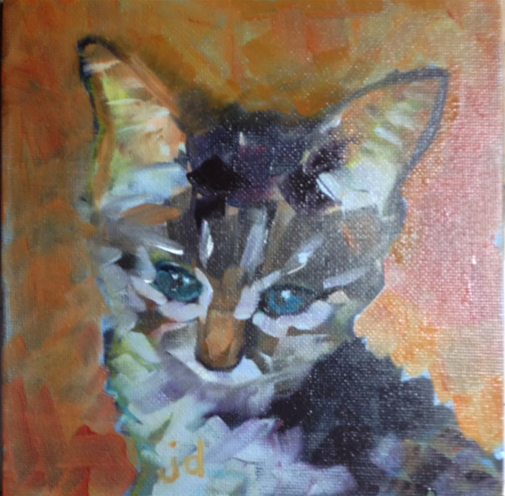 """Warm glowing kitten"" original fine art by Jean Delaney"